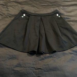 Black Circle Skirt W/ Button Detail